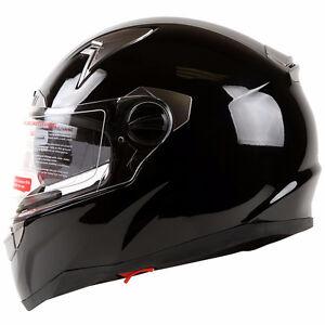 iv2 small motorcycle helmet dual visor gloss black never worn,