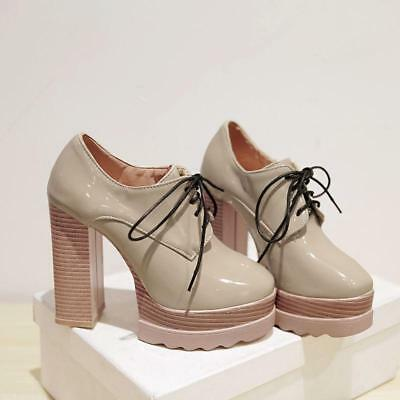 British Style Womens Round Toe Lace Up Platform High Chunky Heels Pumps -