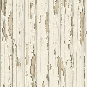 Dekora natur cream wood wallpaper distressed painted wooden panel 95883 1 ebay - Papier peint effet bois vieilli ...