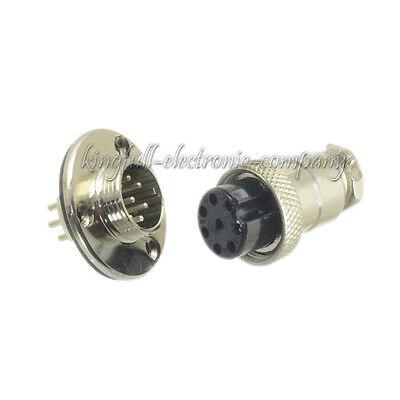 M16 16mm 8 Pin Screw Type Electrical Plug Socket Flange Waterproof Connector New