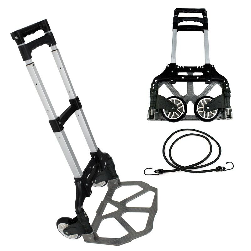 Black Aluminium 176 lbs Folding Cart Luggage Trolley Hand Truck with Bungee Cord Business & Industrial