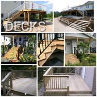 Carpenter building decks and fences