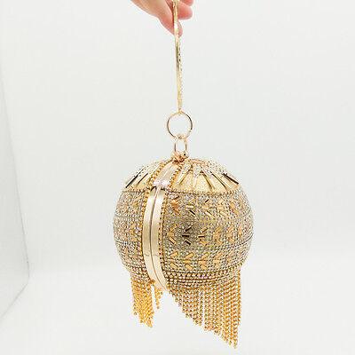 Round Metal Purse Handbag (Round Gold Crystal Tassel Wristlets Bag Clutch Purse Evening Party Totes)