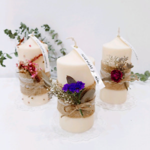 Dry flower deco soy pillar candle