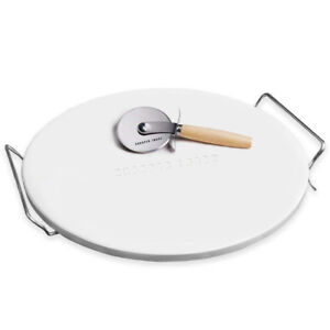 13 Inch Pizza Stone, Cutter, and Rack by Sharper Image, New!