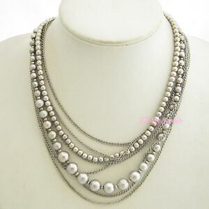 ANTIQUE SILVER TONE MULTI 8-STRAND BEADED LINK CHAIN NECKLACE N1117