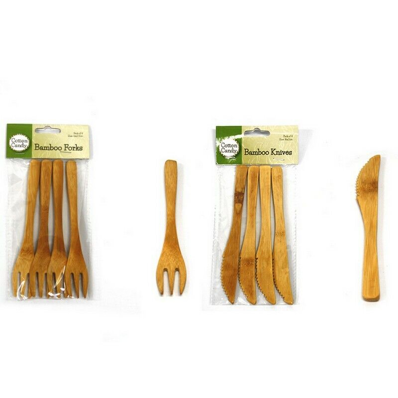 16cm Bamboo Fork Knife Cutlery Reusable Bamboo Wood Forks Kn