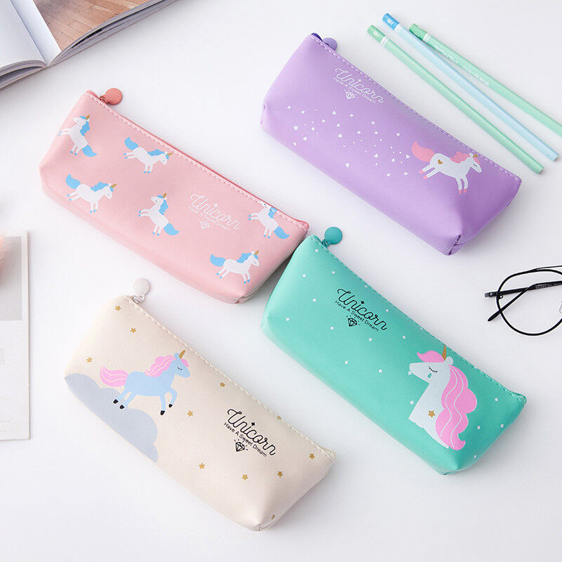 Unicorn Pencil Case Kawaii School Supplies Cosmetic Pouch St