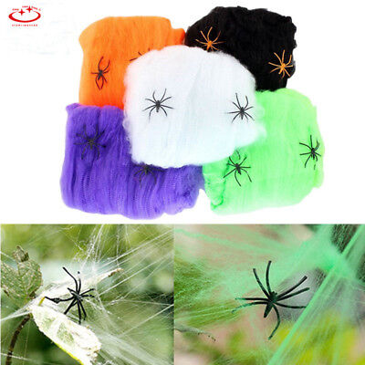 Spider Web With 2 Spiders Halloween Props Stretchy Cobweb Home Party Decor DIY - Halloween Spider Web Diy
