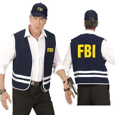 2 tlg FBI AGENT Herren Kostüm - Weste mit Cap - Karneval Fasching Gr. M/L und - Fbi Agent Kostüm Weste