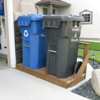 Pressure Treated Storage Stand for Garbage and Recycling Carts