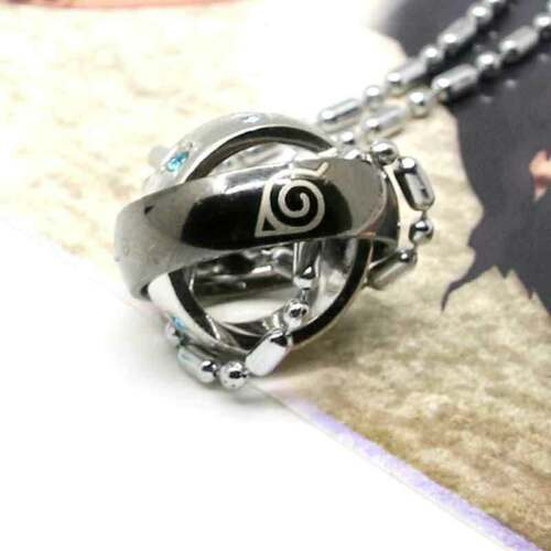 Anime Hokage Konoha Leaf Village Double Loop Ring Pendant Necklace Cosplay Gift