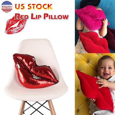 Gift Throw Pillow - Velvet Throw Pillow Cushion Art Deco Style Home Decor Sequin Lips Shaped Gift