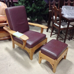 Leather Morris Chair and Ottoman