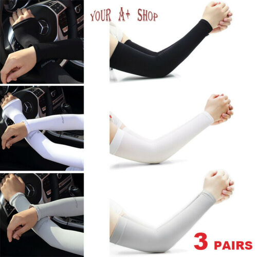3 Pairs Cooling Arm Sleeves Cover UV Sun Protection Sports Outdoor For Men Women