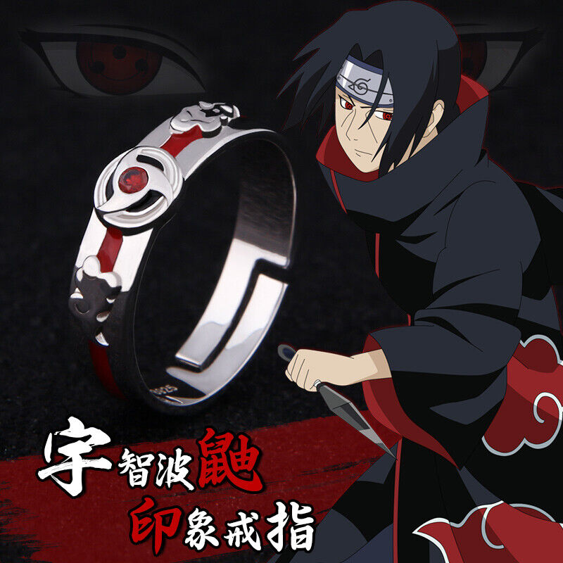 Anime NARUTO1 Uchiha Itachi Sharingan Cosplay prop Silver Ring Gift Adjustable