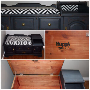 Refinished Cedar Chest / Bench - Charcoal & Brass - toybox