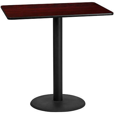 30 X 48 Rectangular Mahogany Laminate Table Top W 24 Round Bar Ht Base