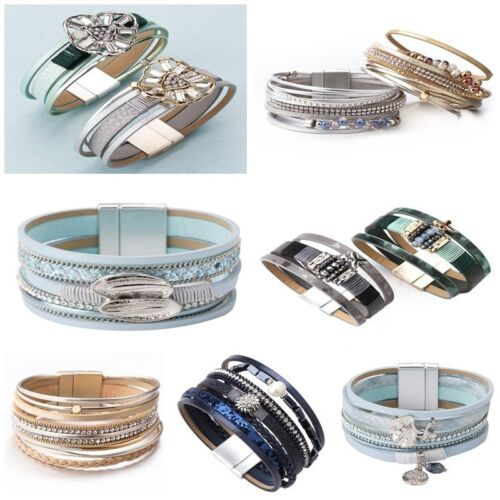 New Fashion Women Multilayer Leather Rhinestone Crystal Beads Wrap Bracelet Gift