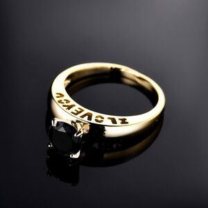 Beautiful 1.2CT Black Diamond 18K Gold Engagement/Wedding Ring