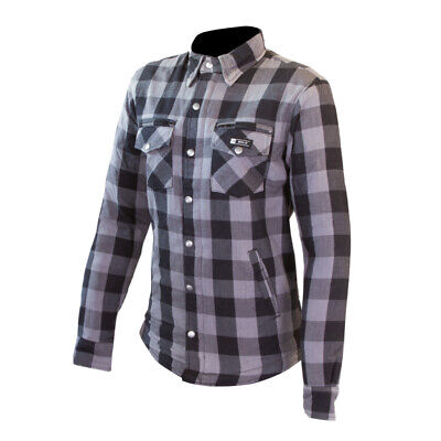 S Motorrad Motorrad Holzf/äller Kevlar Shirt vollst/ändig gesch/ützt mit abnehmbaren CE gepanzerte Premium Qualit/ät Flanell Grau /& Schwarz