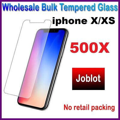 500X Wholesale Job Lot bulk Tempered Glass Screen Protector for iphone X/XS