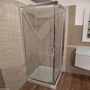 Box doccia cabina scorrevole angolare 75x100 in cristallo 6 mm vetro trasparente ebay - Vetro doccia scorrevole ...