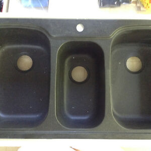 Black triple bowl kitchen sink