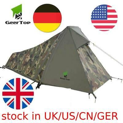 GeerTop One Person Bivy Tent 3-4 Season Camping Tents Ultralight Waterproof Army