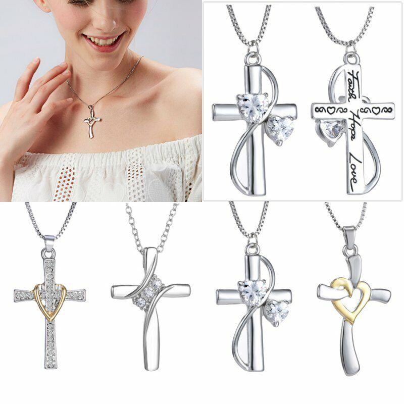 Women Men Crystal Cross Heart Pendant Necklace Chain Gift Si