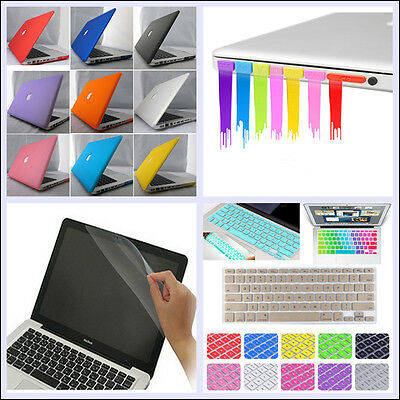 """4in1 Rubberized Hard Case+KB Cover+LCD Film+Plug for MacBook Air Pro 11"""" 13"""" 15"""""""