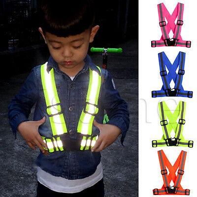Kids Reflective Vest Adjustable Safety Security Visibility Gear Stripes Jacket
