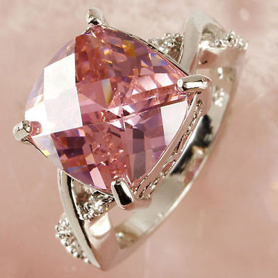Elegant 925 Sterling Silver Square Pink Sapphire Wedding Engagement Ring Size: 8 ()