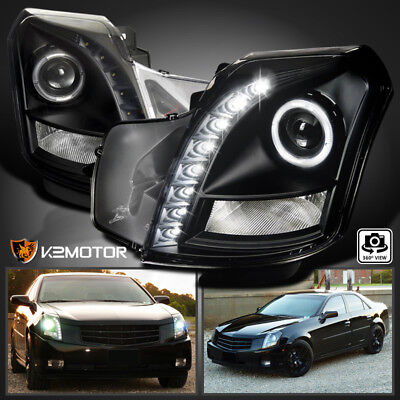 For 2003-2007 Cadillac CTS SMD LED Halo Projector Headlights Black Left+Right