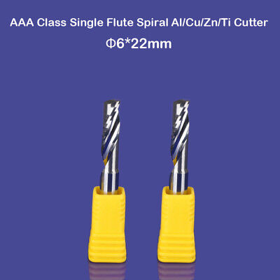 2pcs Aluminium Cutting One Flute Cnc Milling Cutter Router Bits 6mm 22mm