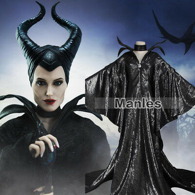 Elegant Halloween (Elegant Halloween Women Costume Maleficent Cosplay Balck Dress Fancy Dress)