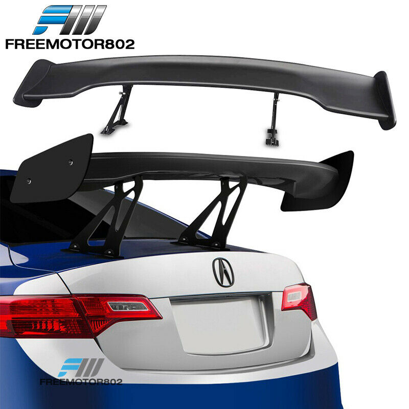 """UNIVERSAL 57/"""" WING DRAGON-3 STYLE BLACK ABS GT TRUNK ADJUSTABLE SPOILER WING"""