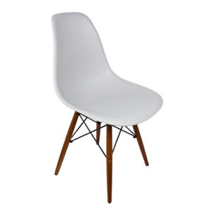 Wilborn Eiffel Chair White with Walnut Wood Legs