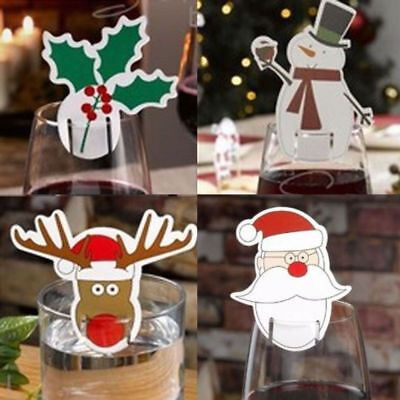 Christmas Table Decoration (10pcs Christmas Table Red Wine Beer Decoration Name Cards Santa Snowman Decor)