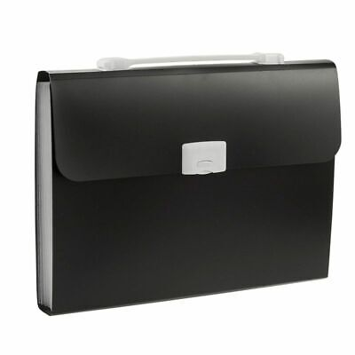 Expanding File Document Organizer Carrying Case For Business Trips Work Black