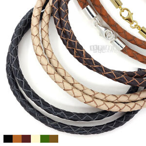 Sterling-Silver-4mm-Braided-Genuine-Leather-Cord-Necklace-Bracelet-Lobster-Clasp