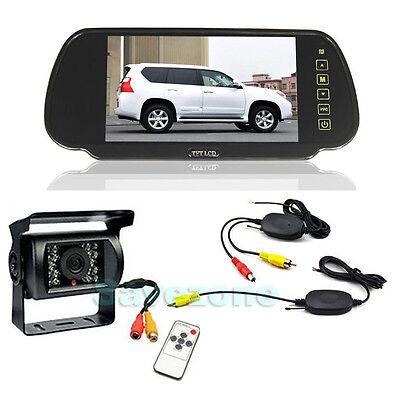 "Wireless 18 LED Parking Reverse Camera + 7"" LCD Mirror MonitorCar Rear View Kit"
