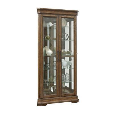 Home Fare Lighted 5 Shelf Double Door Corner Curio Cabinet in Oak Brown Oak Double Door Cabinet
