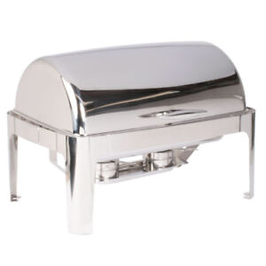 Stainless Steel Straight Leg Roll Top Chafer