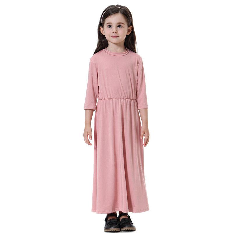 Kids Girls Muslim Costume Prayer Long Loose Robe Islamic Maxi Casual Sundress Clothing, Shoes & Accessories