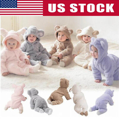 USA Newborn Baby Infant Boy Girl Romper Hooded Jumpsuit Outfits Bodysuit Clothes - Infant Boy Outfit