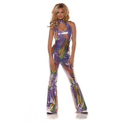 70's-80's Disco Jumpsuit Multi Color Swirl Print Halter Style Sexy Costume XL