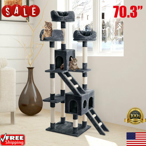 """70.3"""" Cat Tree Tower Condo Furniture Bed Scratch Post Kitty"""