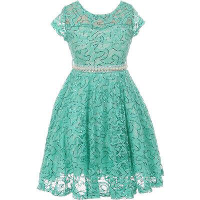 Tea Girl Dresses (Mint Cap Sleeve Illusion Neckline Glitter Tea Length Flower Girl Dresses)