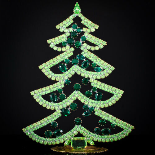 "Czech christmas tree - stand-up - rhinestone - 6.69"" x 4.72"""